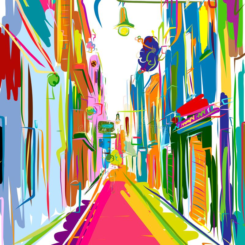 Old european street, sketch for your design. Vector illustration stock illustration
