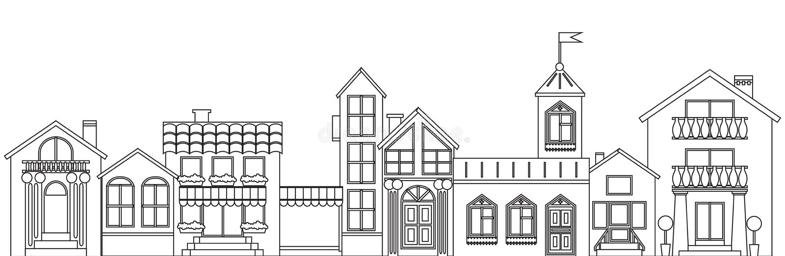 Old european town contour. Vector isolated houses outline illustration.  stock illustration