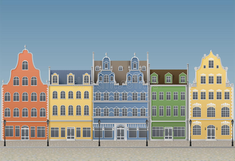 Old European Town. Illustration of old european town, EPS 10, contains transparency royalty free illustration