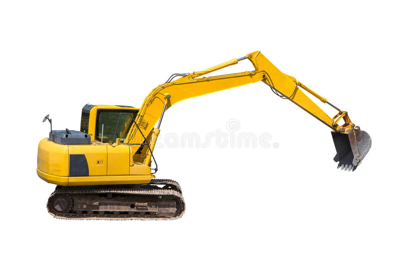 Old excavator isolated on white royalty free stock image