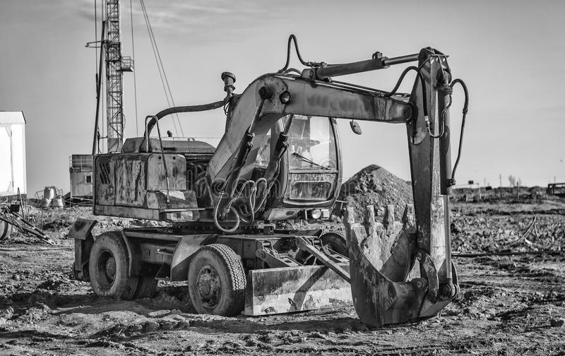 Old excavator. stock images