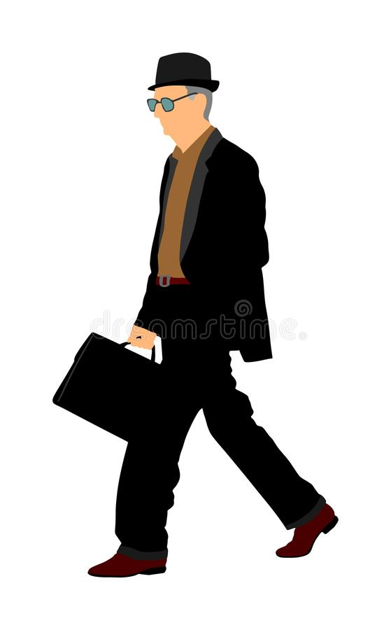 Old experienced lawyer with suitcase walking . Elegant senior gentleman. Mature businessman. Old school teacher. Man in suit with hand in pocket. Secret stock illustration