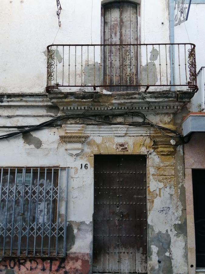 Old facade of Chiclana-Cadiz-Andalusia. Old facade of Chiclana -Cadiz-Andalusia royalty free stock photo