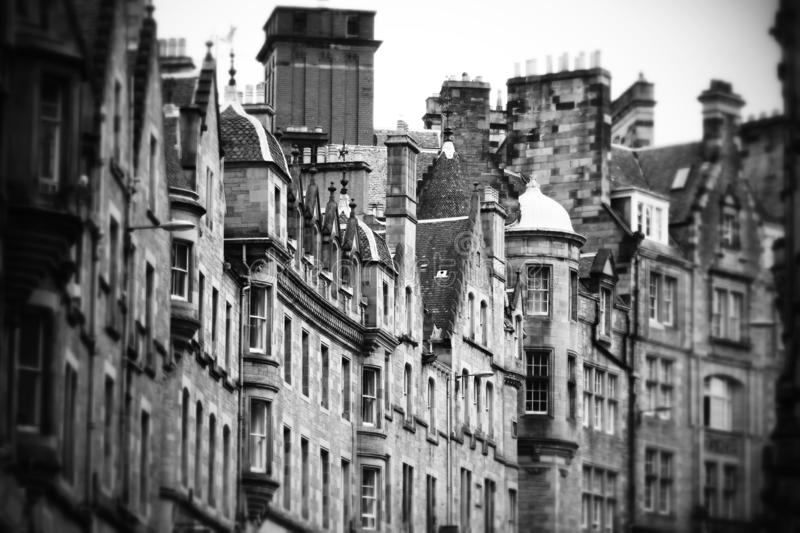 Old facades perpective in Edinburgh street, Scotland. Black and white picture of an old facades perpective in Edinburgh street, Scotland royalty free stock images