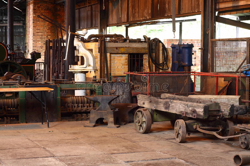 Old factory F. Photograph of the inside of an old factory stock photos