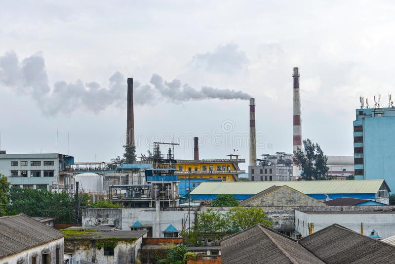 Old factory with pollution stock photos