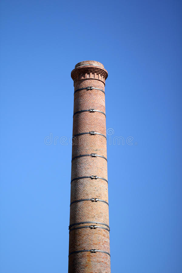 Old factory stack in Nantes (France). Old preserved factory stack on lile de Nantes (Nantes - France royalty free stock photos