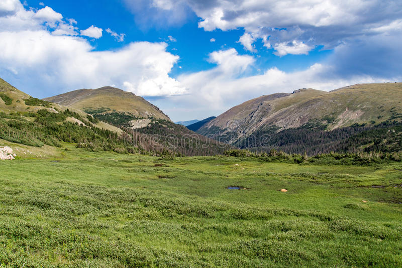 Old fall river road - rocky mountain national park colorado. Spring summer view from famous and historic old fall river road in the rocky mountain national park stock photos