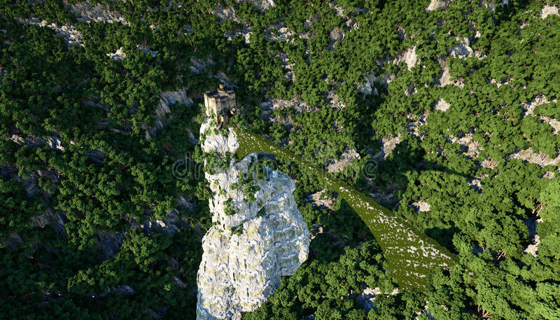 Old fantsay castle on a high cliff, rock. Aerial view. fabulous landscape.  stock images