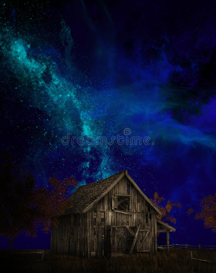 Old Farm barn, Milky Way. Illustration of an old farm barn with a night sky of stars and the Milky Way