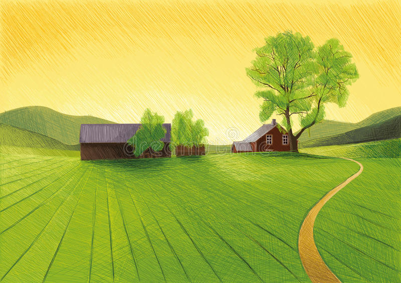 Old Farm. Digital Drawing Landscape with Farm and Agriculture vector illustration