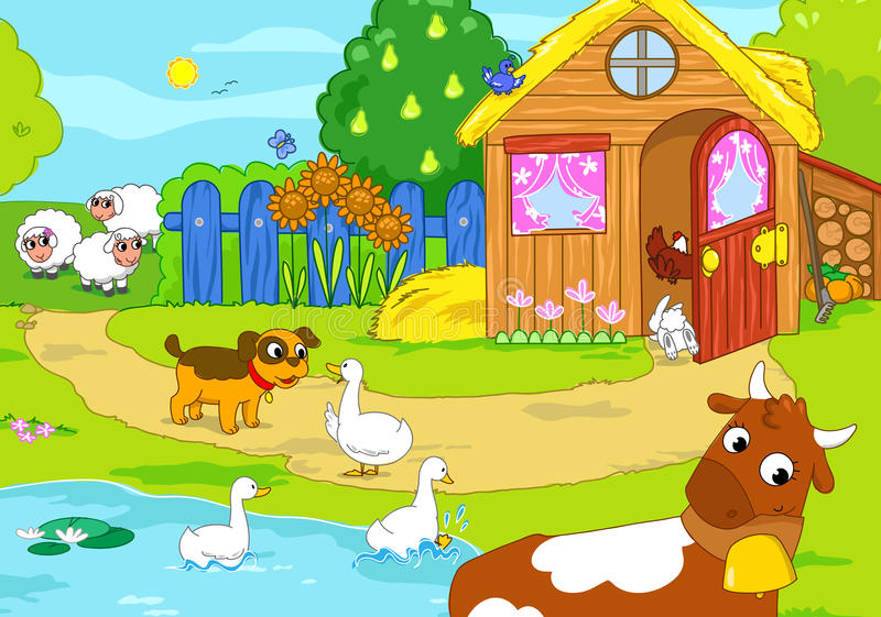 Old farm with funny animals. Cartoon illustration. Woody farm with funny animals: ducks, donkey, goat, rabbit, dog, sheeps. Cartoon illustration for children royalty free illustration