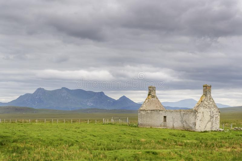 Old farm house in Scottish highlands stock photography
