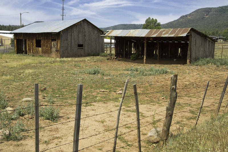 Old farm house and shed in the Arizona country royalty free stock photography