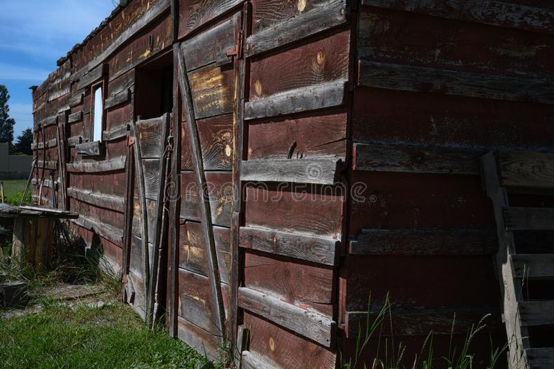 Farm shed with worn paint stock photos