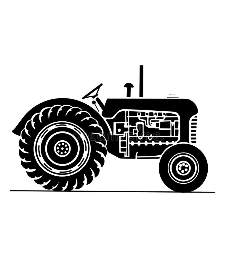 Old farm tractor side on view illustration. Illustration of an antique farm tractor stock illustration