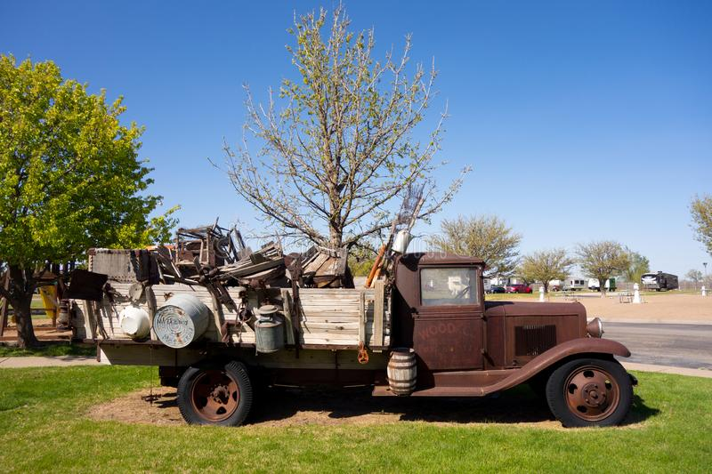 An old farm truck on display in texas stock images
