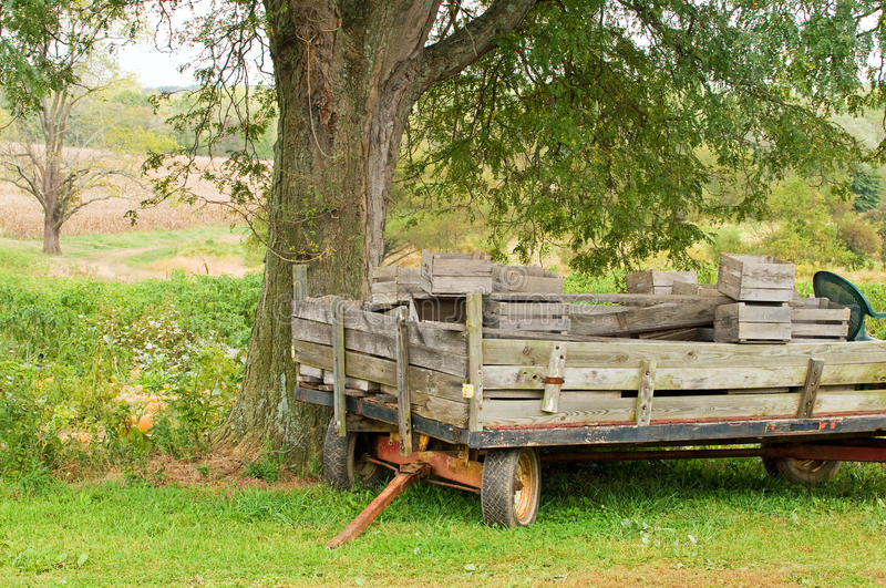 Old farm wagon or trailer. An old, weathered farm wagon or utility trailer under a tree at a country farm royalty free stock image