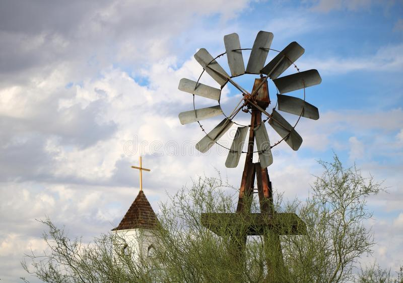 Old Farm Windmill royalty free stock photo