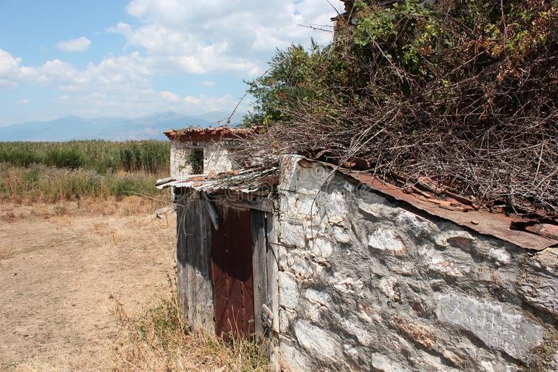 Old farmhouse in Prespes Lake Florina Greece. Europe stock photo