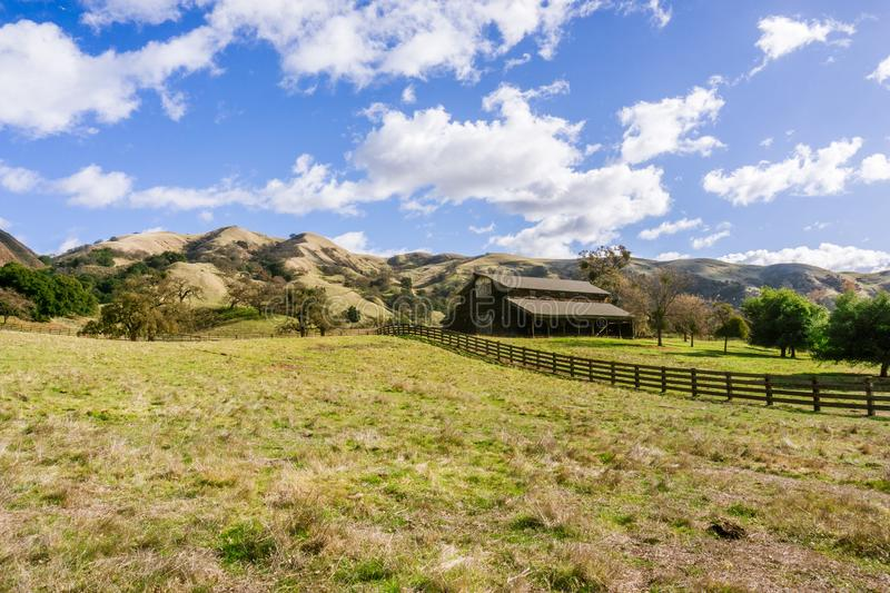 Old farmhouse in Sunol Regional Wilderness on a sunny winter days, east San Francisco bay area, California stock image