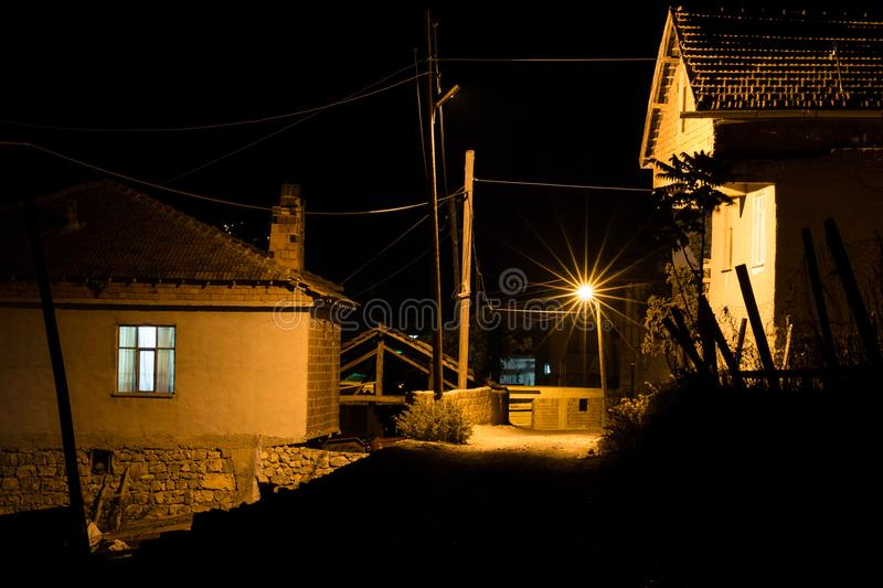 Old farmhouse in the Turkish village Oymaagac by night royalty free stock photo