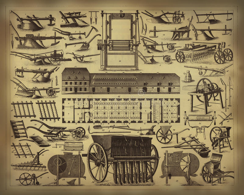 Old farming tools royalty free illustration