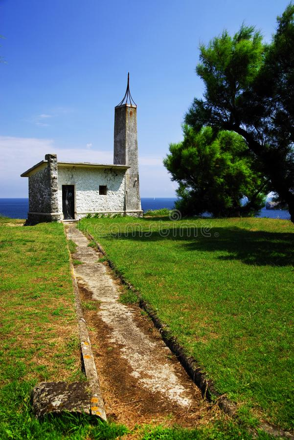 Old faro on cantabrian coast. Ancient lighthouse out of use on the Cantabrian coast, Spain, europe stock photos
