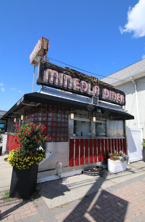 An old fashion boxcar diner on Long Island. An old vintage boxcar diner on a street corner, Long Island, New York stock image