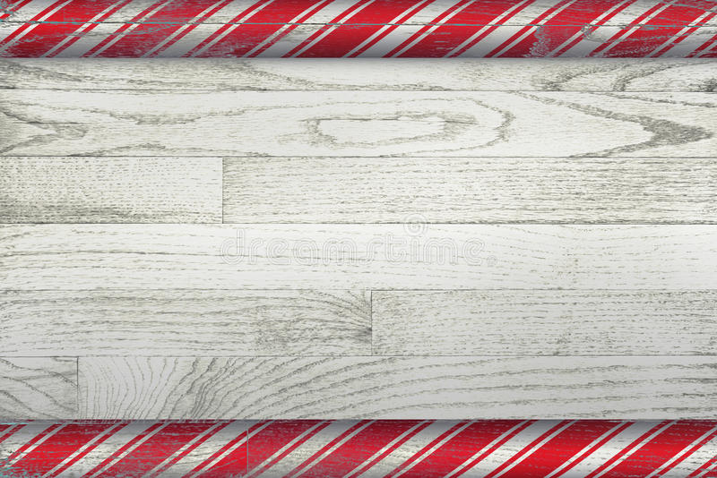 Old Fashion Christmas Background. A Christmas candy cane background painted over a whitewashed wooden board royalty free illustration