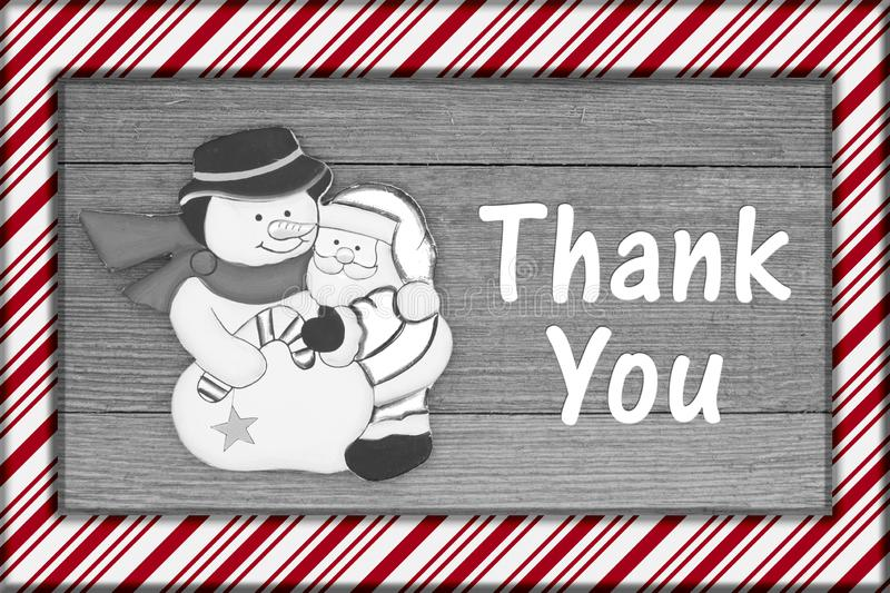 Old fashion Christmas message thank you stock photo