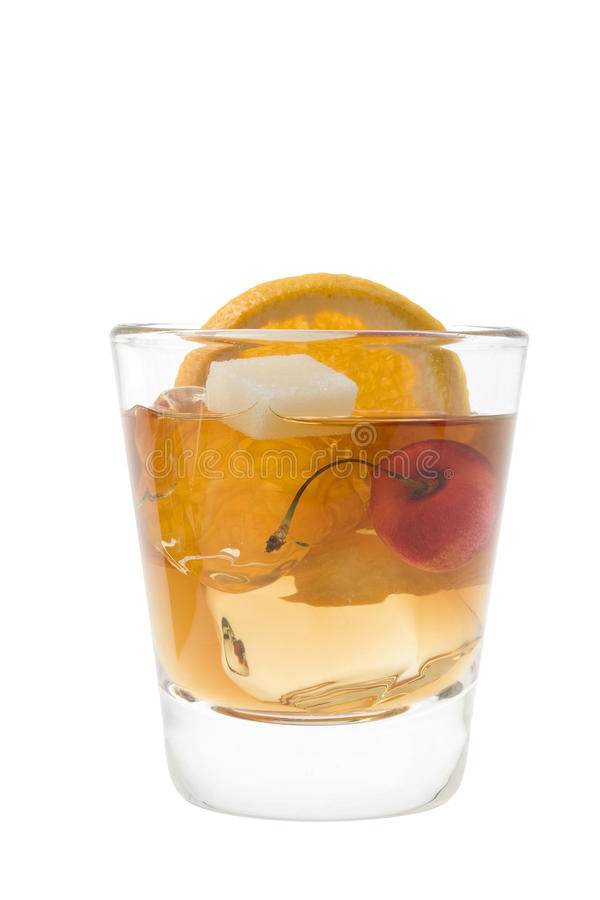 Old Fashion cocktail on a white background royalty free stock image