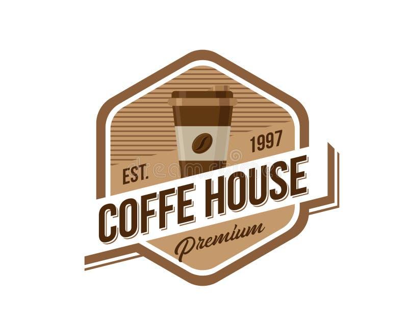 Vintage Coffee Shop Emblem Badge Illustration stock illustration