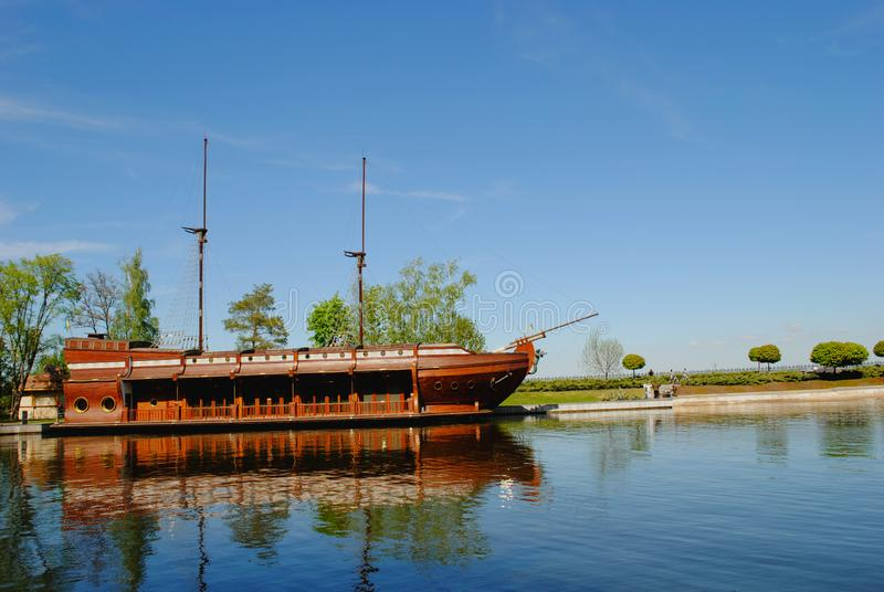 Old-fashion ship on the river royalty free stock images