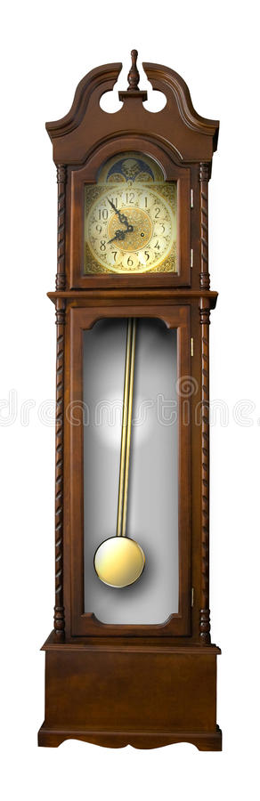 Old-fashion wooden clock with pendulum stock images