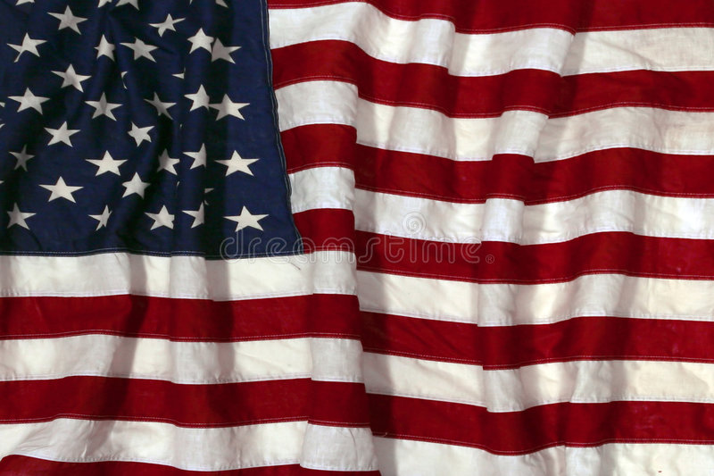 Old Fashioned American Flag. Wrinkled Up American Flag: Use as Background or Overlay Montage royalty free stock photography
