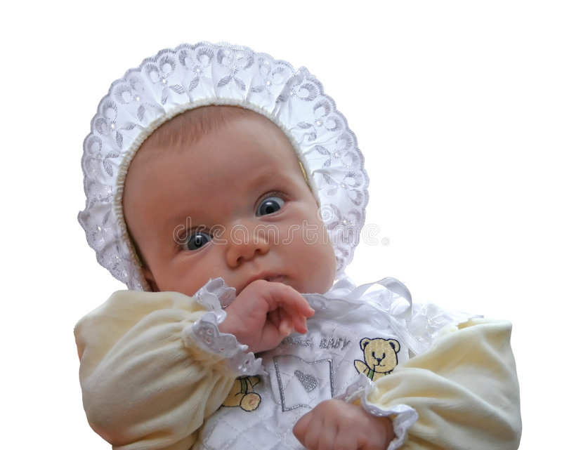A Baby With Old Fashioned Bonnet And Dress
