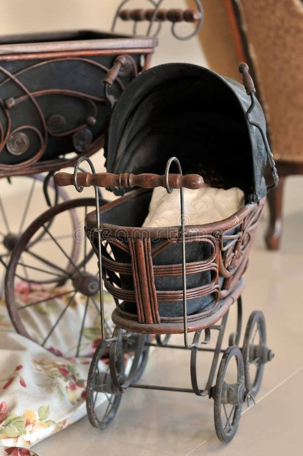 Old fashioned baby carriage royalty free stock photo