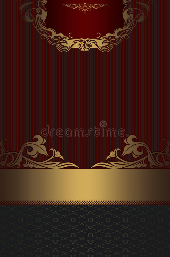 Old-fashioned background with gold decorative border. stock photos