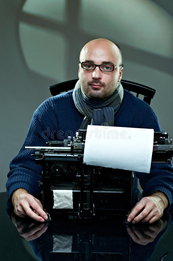 Download Old Fashioned Bald Writer In Glasses Stock Photo - Image of author, adult: 17426926