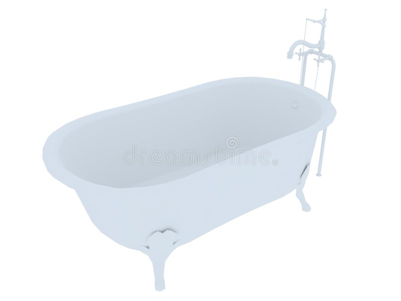 Old fashioned bath tub. White old fashioned bath tub isolated on a white background vector illustration