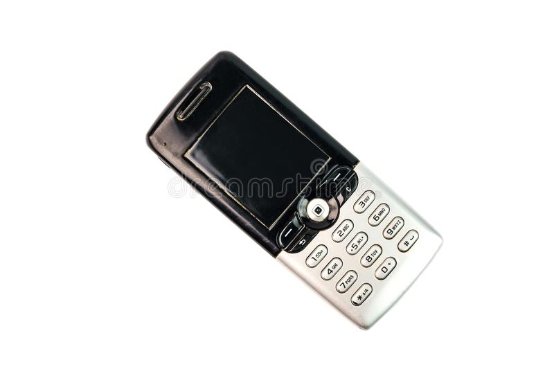 Old fashioned black mobile phone isolated on white background stock photo