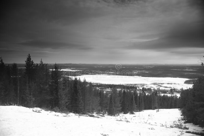 Old-fashioned black and white photo from Mount Glommersberget near Glommerstrask in Lapland, Sweden.  royalty free stock photo