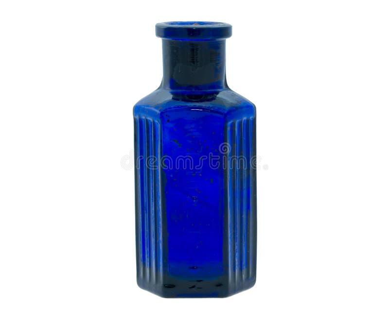 Old fashioned blue chemical bottle stock image