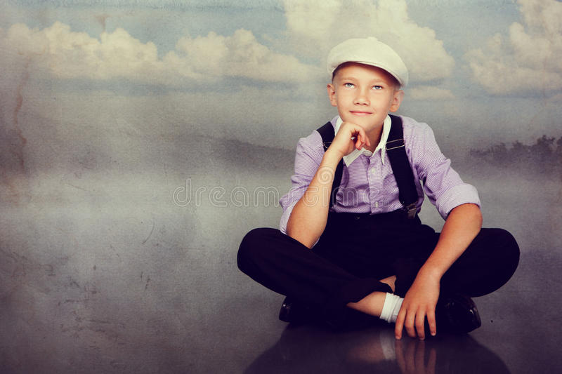 Old fashioned boy looking up royalty free stock photos