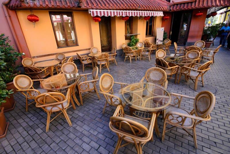Old fashioned cafe terrace. Tbilisi, Georgia, Europe royalty free stock photo