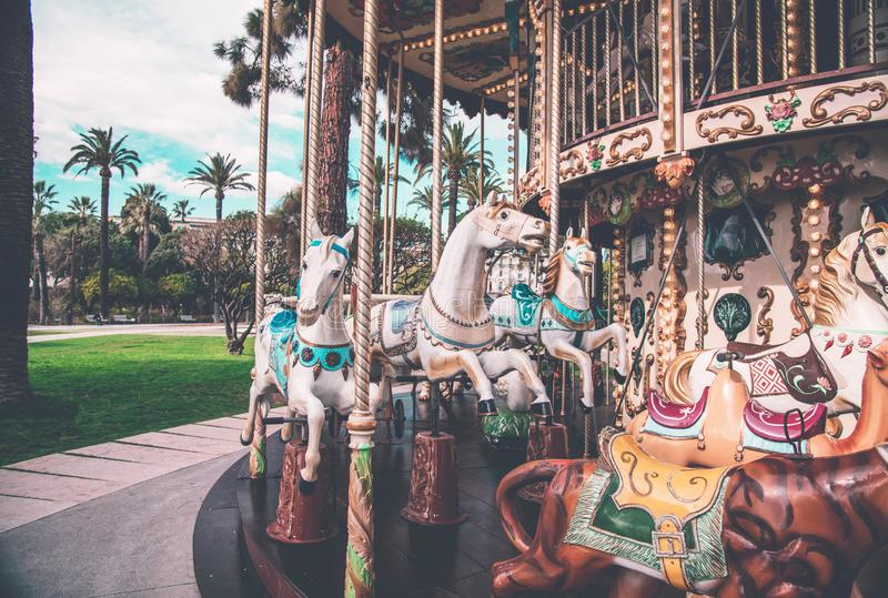 An old fashioned carousel in Nice, France. royalty free stock photos