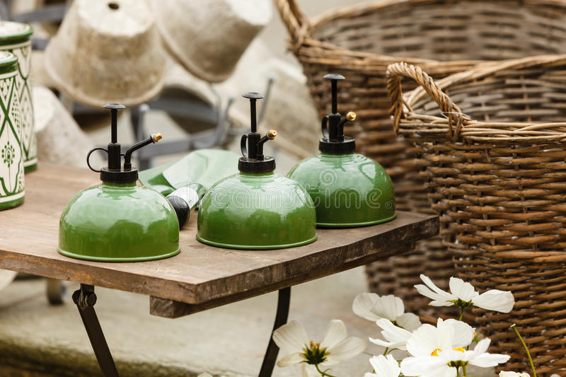 Old fashioned ceramic clay green kettle royalty free stock photos