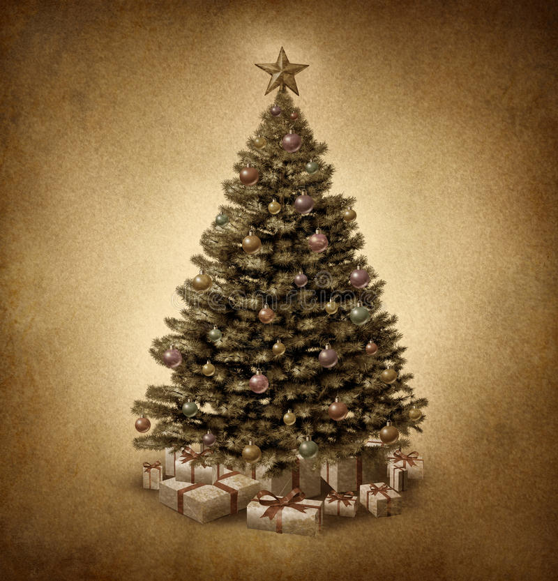 Old Fashioned Christmas Tree. On vintage parchment paper grunge texture with traditional ornate decorative balls and gifts with ribbons and bows as a classic stock illustration