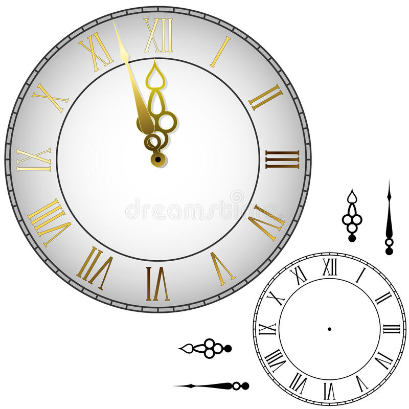 Old-fashioned clock face. Old-fashioned wall clock with hands about midnight with black and white template
